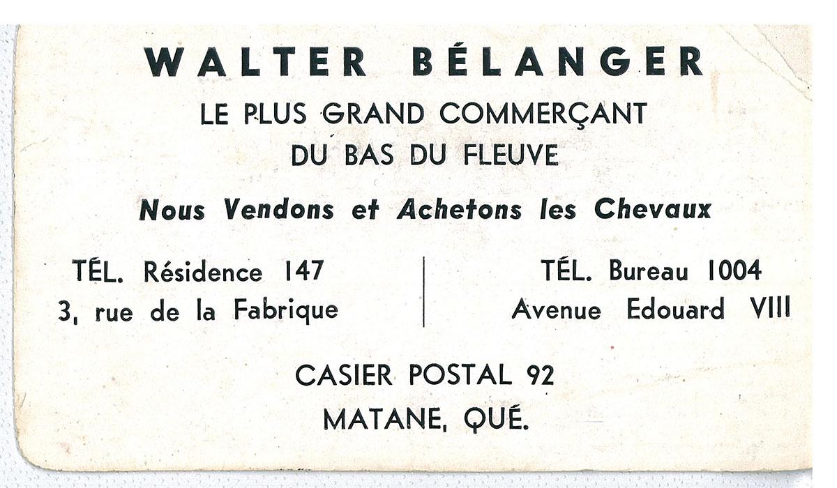 Béton Provincial - Historique Walter Bélanger