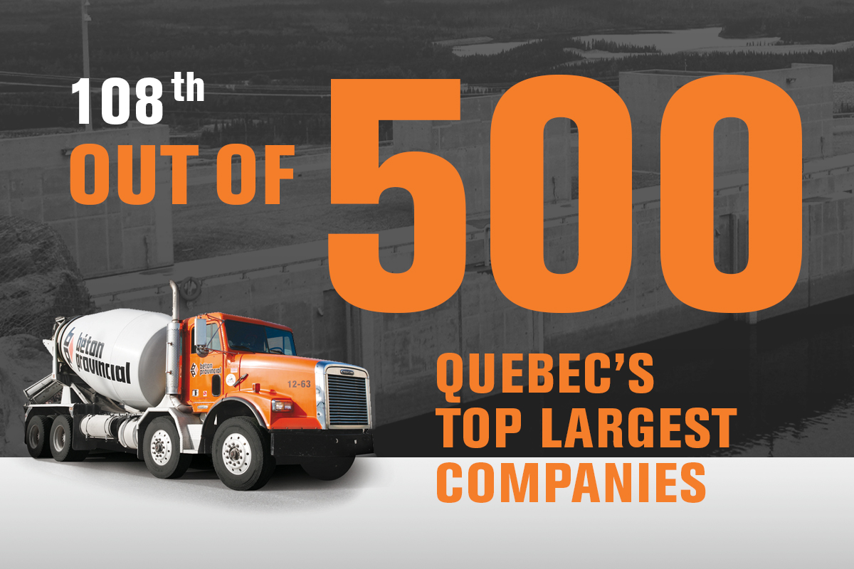 Béton Provincial ranks among Quebec's top 500 largest companies!